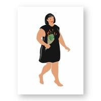 """אשה מחזיקה בזר פרחים #2 - מתוך """"החיים יפים"""", הסדרה האופטימית"""