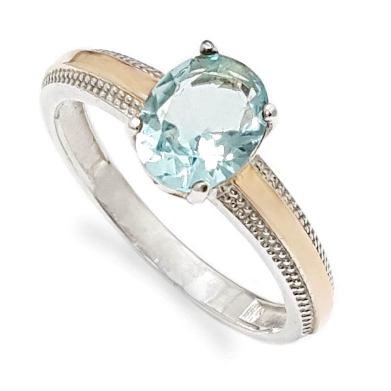 טבעת כסף מצופה זהב 9K משובצת אבן בלו טופז RG5958 | תכשיטי כסף | טבעות כסף