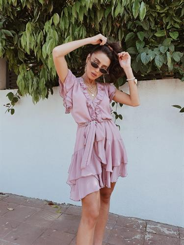 שמלת איה שיפון - ורודה