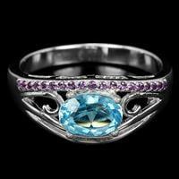 טבעת כסף משובצת טופז כחול וזרקונים סגולים RG7210 | תכשיטי כסף 925 | טבעות כסף