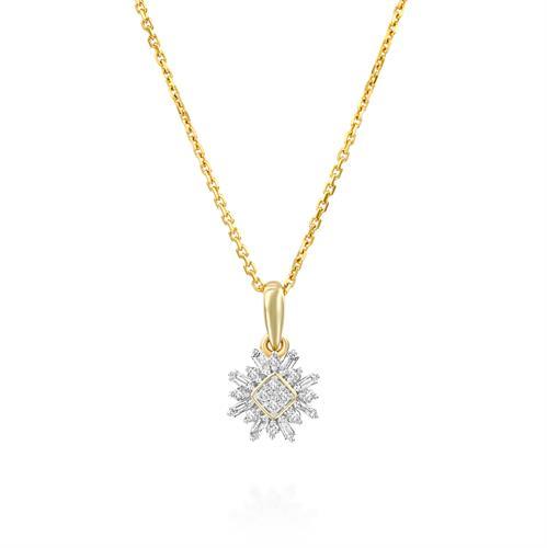 שרשרת ותליון לבלוב התשוקה משובץ יהלומים בזהב לבן או צהוב 14 קראט