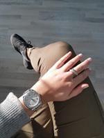 טבעת זהב 14K משובצת יהלומים שחורים ולבנים 1.30 קראט