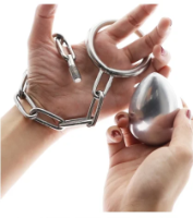 כדור נירוסטה פלאג לישבן כולל חיבור לביצים טבעת 5סמ