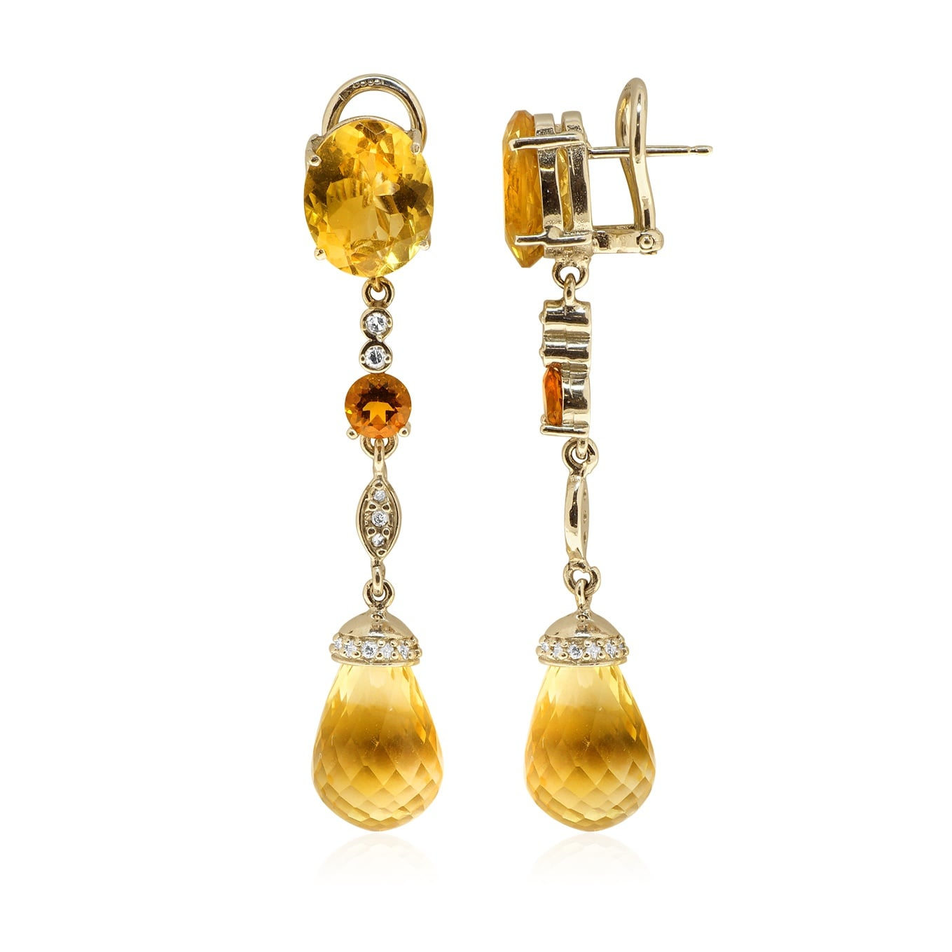 עגילי זהב 14 קרט משובצים אבן חן סיטרין ו0.35 קראט יהלומים