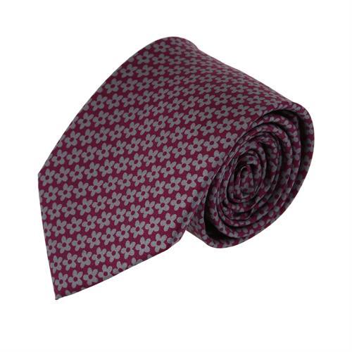 עניבה פרחים אפור סגול