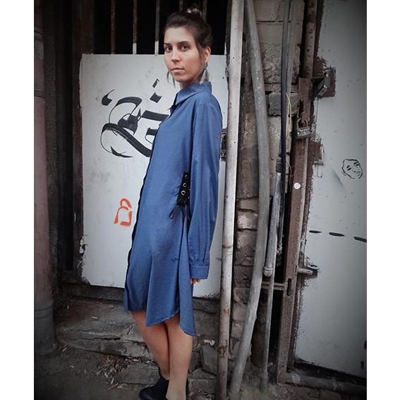 שמלת סול כחול כהה שרוולים ארוכים