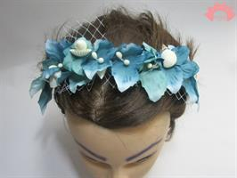 קשת פרחים מעוצבת, קשת טורקיז - פרחים, רשת וצדפים