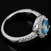 טבעת כסף משובצת טופז כחול וזרקונים RG5590 | תכשיטי כסף 925 | טבעות כסף