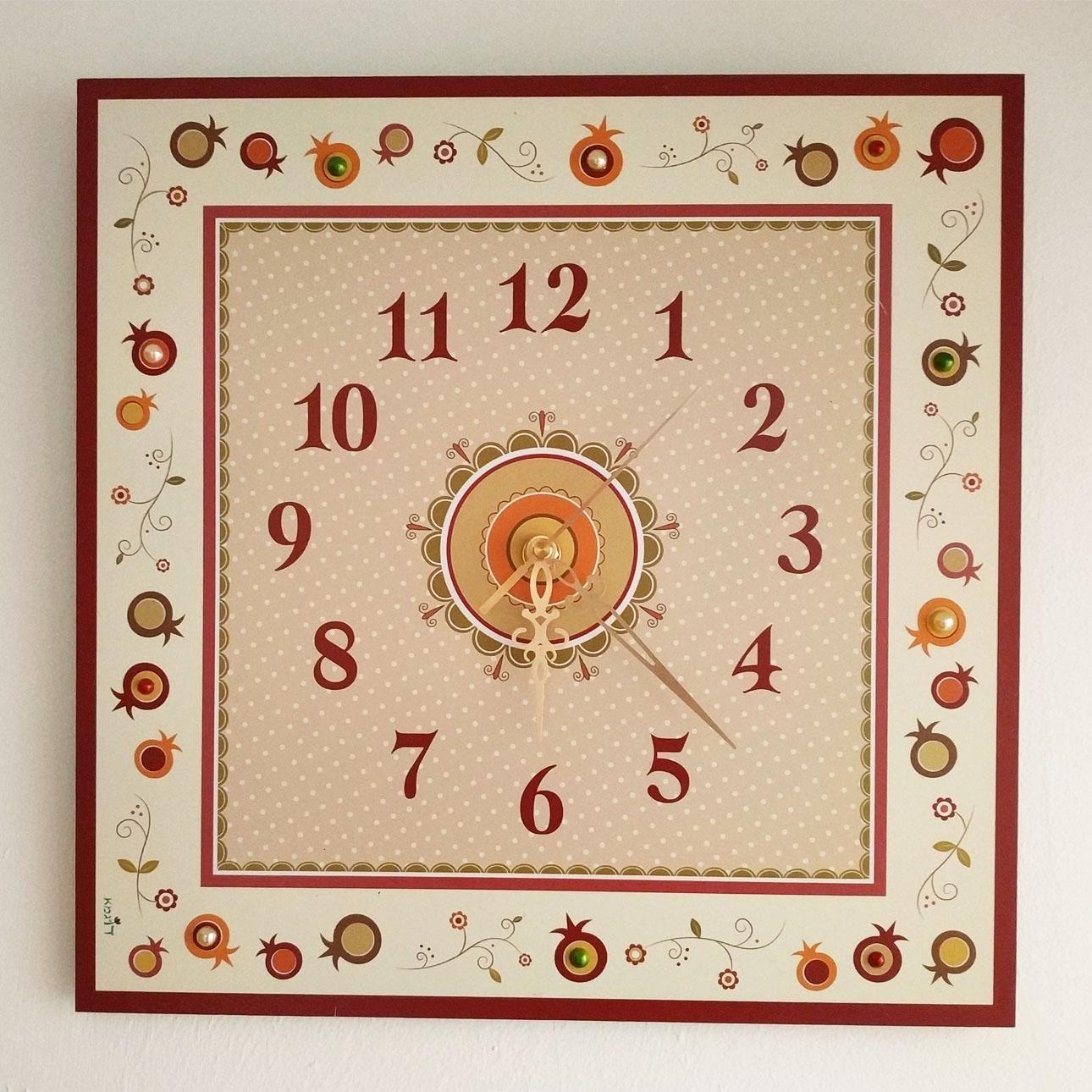 שעון קיר מעוצב - שמנת (רימונים) - דוגמא