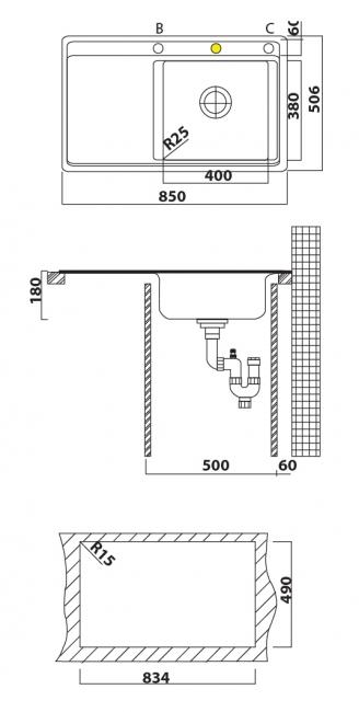 כיור מטבח נירוסטה יחיד עם משטח תוצרת אולין דגם אקוודור