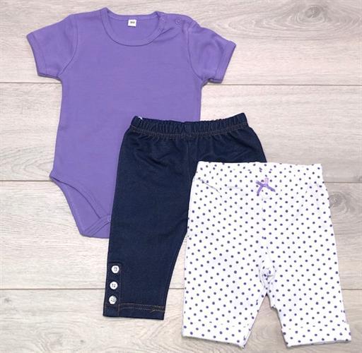 חליפת בגד גוף ומכנסיים קצרים סגול