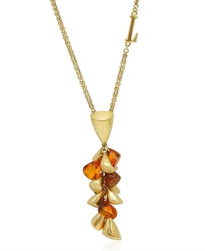 שרשרת זהב לאישה עם תליון אבני חן ענבר