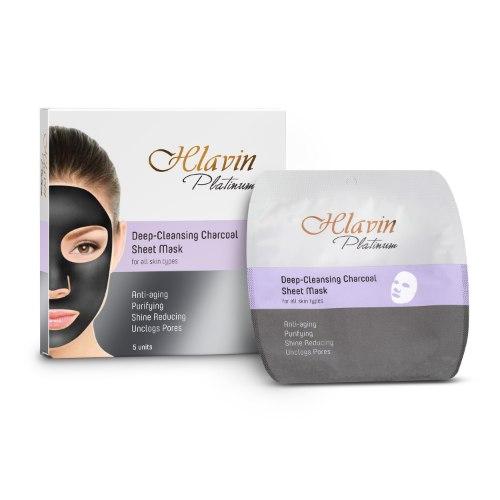 מסכת בד לניקוי פנים אינטנסיבי עם פחם  לכל סוגי העור 5 יחידות באריזה HLAVIN