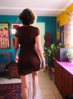שמלת מיני סקסית סריג חום מידה S