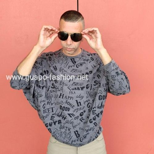 חולצת קימונו עם הדפס מילים לגברים