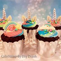מיני מיני קאפקייק יוניקורן - אוזניים, קרן סט ל 6 יחידות, יוניקורן יום הולדת.