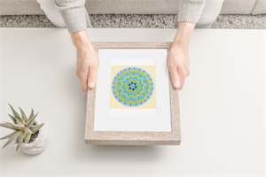 """מדבקת קנבס מנדלת """"פרח החיים"""" - מנדלה מקורית בעבודת יד מודפסת על מדבקת קנבס"""