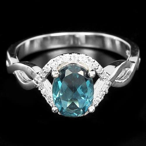 טבעת כסף משובצת טופז כחול וזרקונים RG6122 | תכשיטי כסף 925 | טבעות כסף