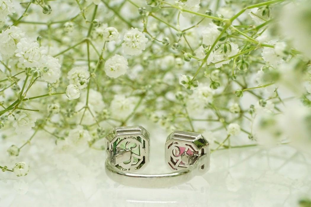 """טבעת פתוחה יהלומים ואבני חן """"ליב"""" 18 קראט"""