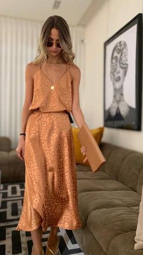 חצאית A סאטן מנומרת ברונזה