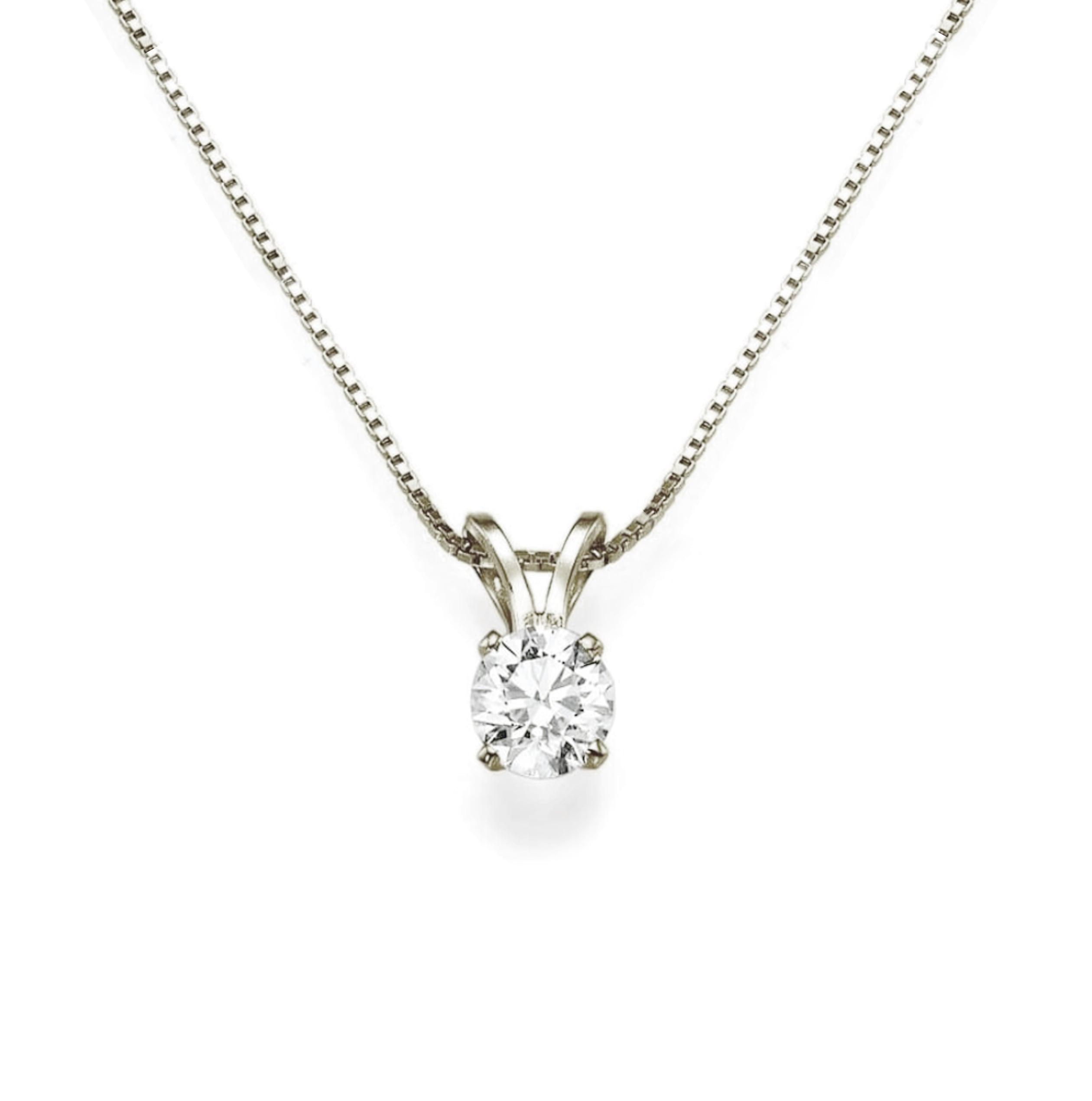 שרשרת יהלום עגול תליון יהלום שרשרת יהלום בסגנון סוליטר(בודד) 0.25 קראט בזהב 14 קאראט