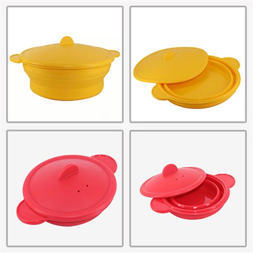 Silicone Microwave Oven Steamer Kitchen Cooking Folding Pot Bowl Cooker Tools