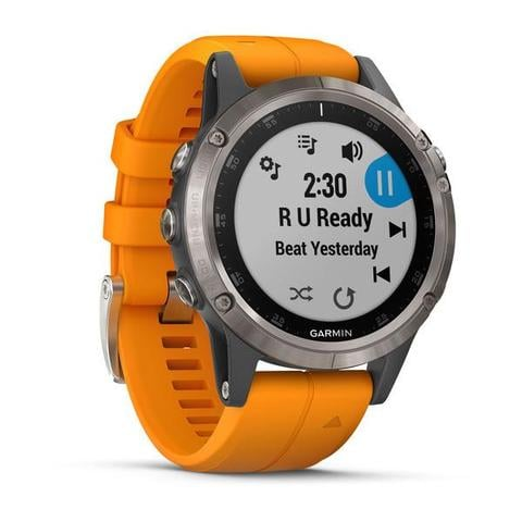 Garmin fenix 5 Plus Sapphire Titanium with Solar Flare Orange