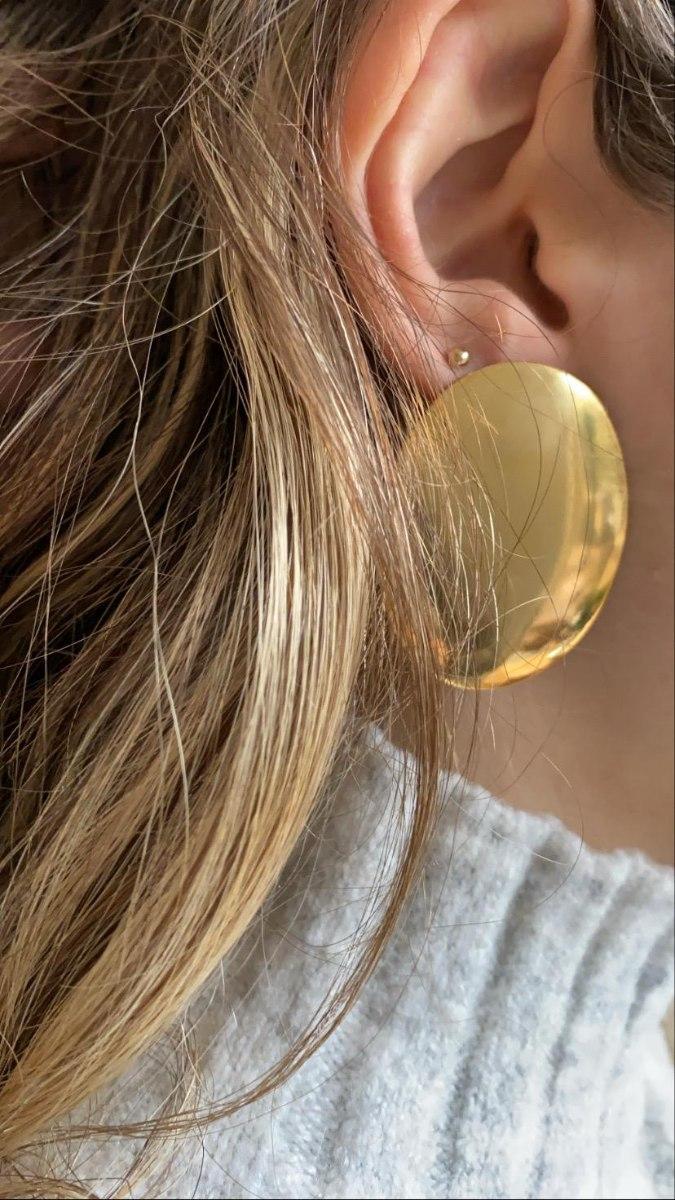 עגילי אליפסה זהב
