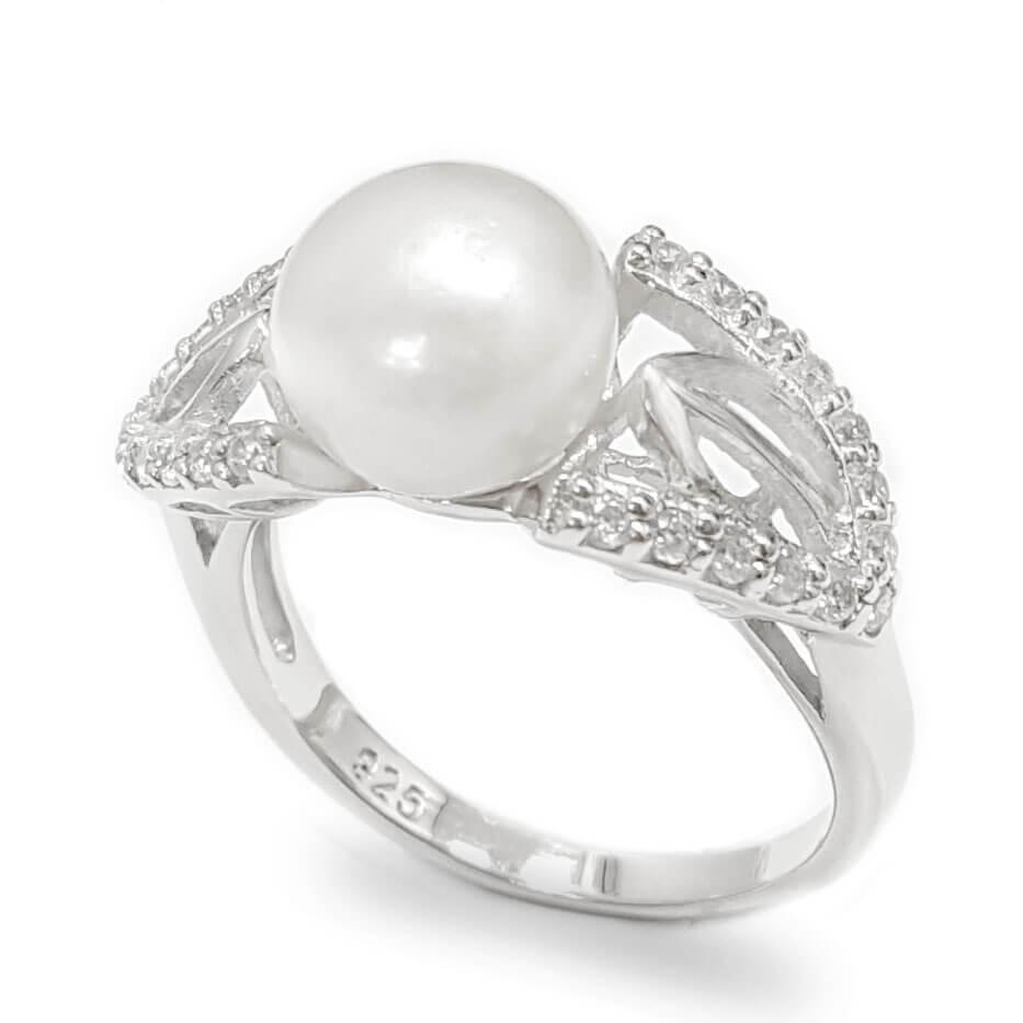 טבעת מכסף משובצת פנינה לבנה וזרקונים RG1638 | תכשיטי כסף 925 | טבעות עם פנינה