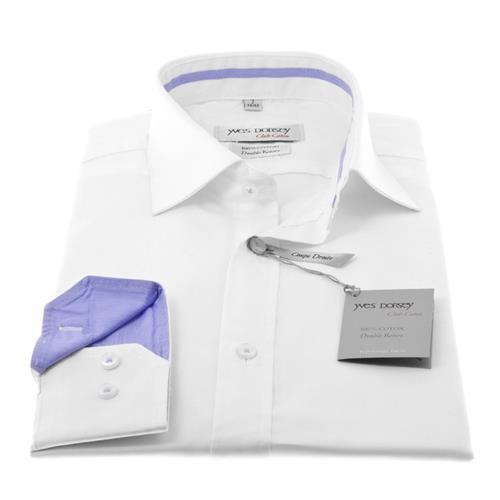 חולצה לבנה עם דוגמא בצווארון