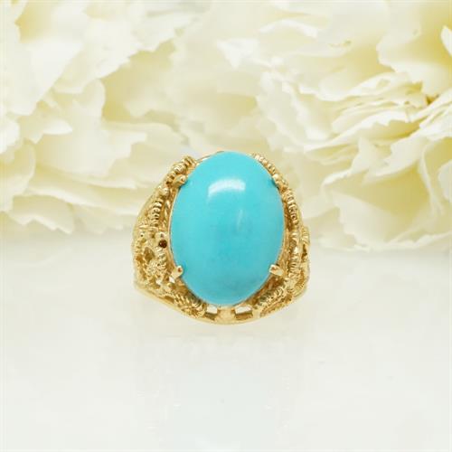 טבעת זהב וינטאג משובצת טורקיז גדולה