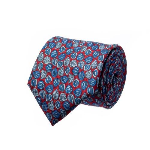 עניבה דגם פלחים אדום כחול תכלת