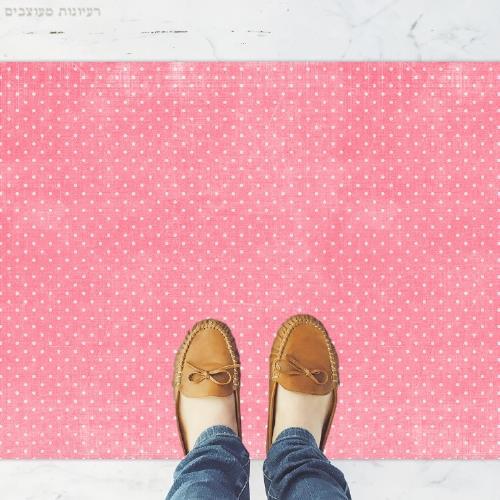 שטיח פי וי סי למטבח בסגנון חמוד ומתוק- דגם ורוד נקודות