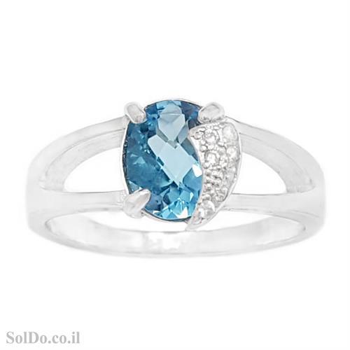 טבעת מכסף משובצת אבן טופז כחולה  וזרקונים RG6143 | תכשיטי כסף 925 | טבעות כסף