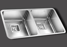 כיור מטבח נירוסטה כפול תוצרת אולין דגם אנדורה 75