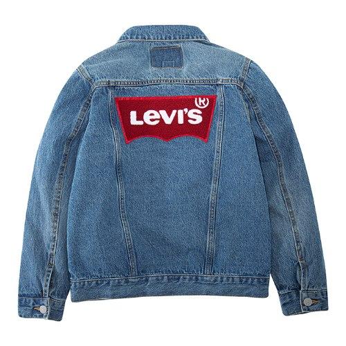 ג׳קט ג׳ינס בהיר לוגו פרווה אדום LEVIS יוניסקס - 4-15
