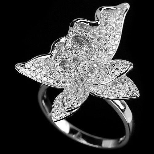 טבעת כסף מעוצבת משובצת זרקונים RG5765 | תכשיטי כסף | טבעות כסף