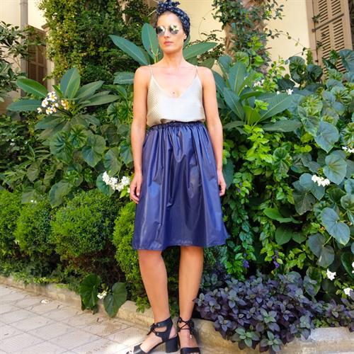 חצאית ניילון יפני כחולה
