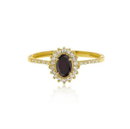 """טבעת זהב 14 קרט """"דיאנה"""" משובצת יהלום שחור מרכזי ויהלומים"""