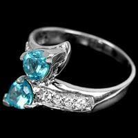 טבעת מכסף משובצת אבני אפטייט כחולה וזרקונים  RG5665| תכשיטי כסף 925 | טבעות כסף