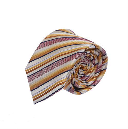 עניבה פסים בגווני ורוד זהב