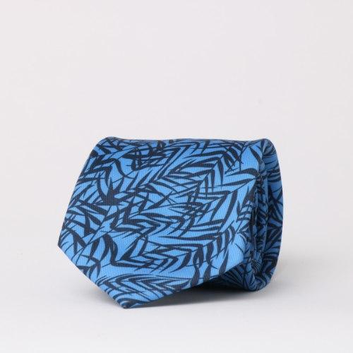 עניבה מודפסת כחול עלים גדולים