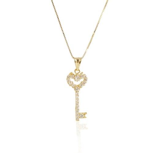 שרשרת זהב עם מפתח זרקונים