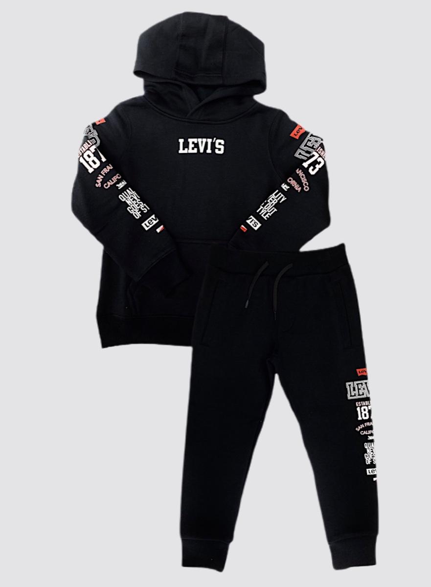 Levis חליפה שחורה לוגואים בצדדים מידות 4-13 שנים