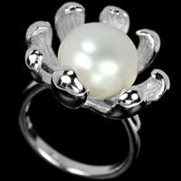 טבעת מכסף בצורת פרח משובצת פנינה לבנה  RG1470 | תכשיטי כסף 925 | טבעות עם פנינה