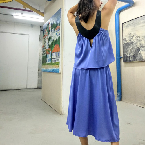 חצאית איימי כחול חלומי + כיסים