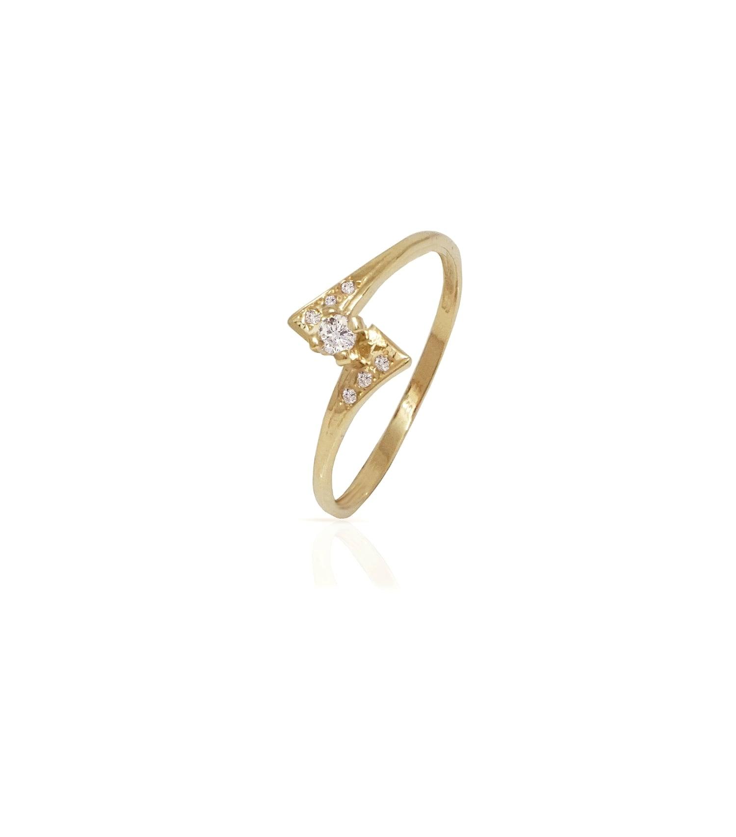 טבעת זהב ויהלומים בסגנון כנפיים זהב 14 קרט