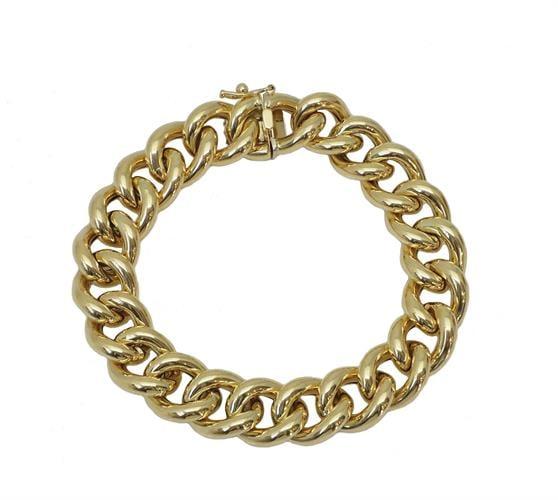 צמיד חוליות זהב איטלקי עבה מזהב 14 קאראט לאישה