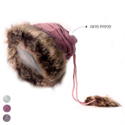 כובע חם צוואר מינק