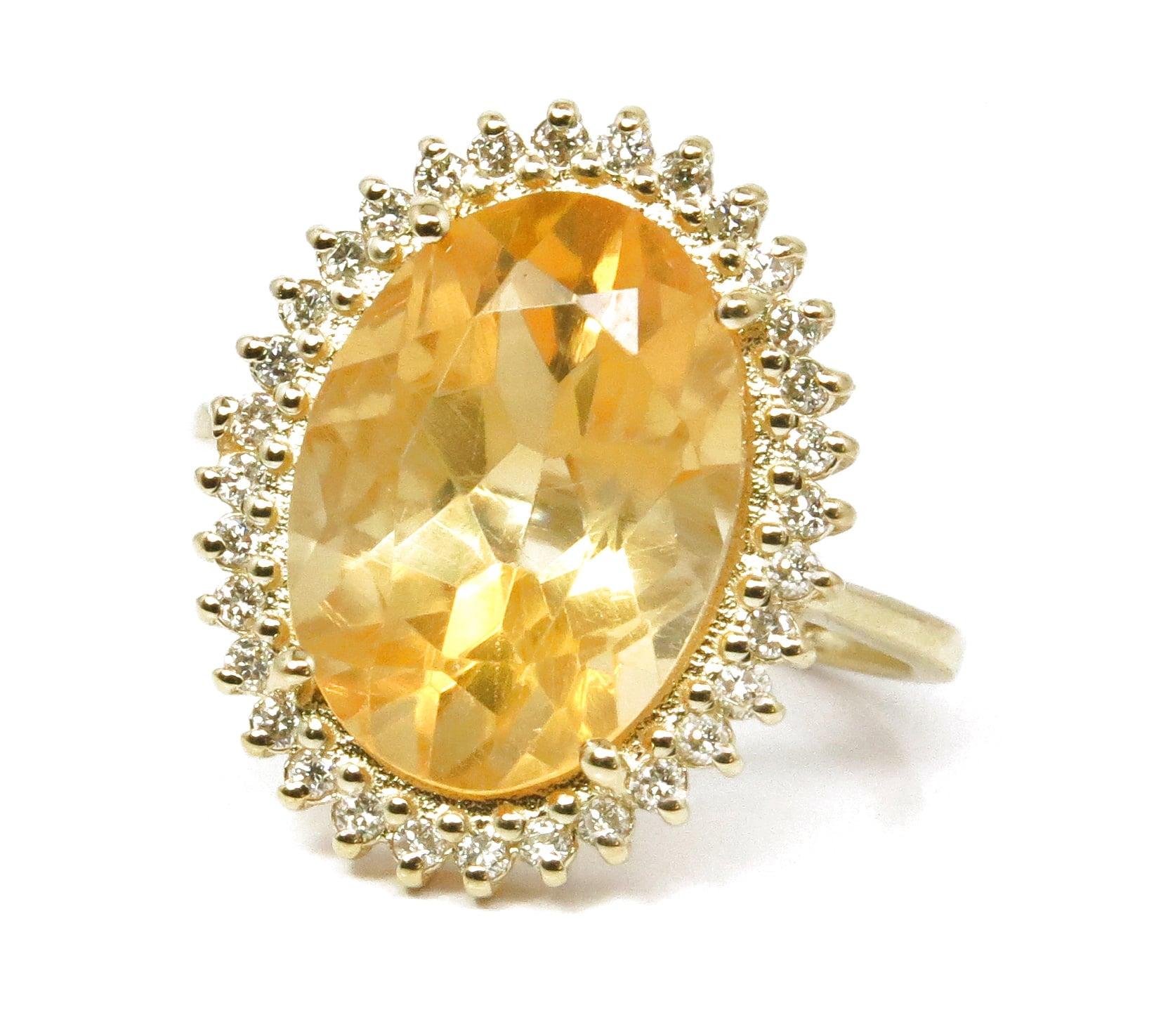 טבעת זהב 14K משובצת אבן סיטרין ויהלומים 0.30 קראט